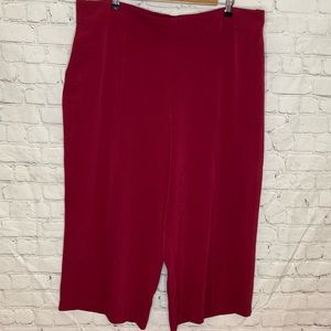 Cleo red loose wide leg culottes